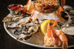 Seafood platter on ice with